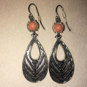 Lucky Brand orange and silver dangly earrings